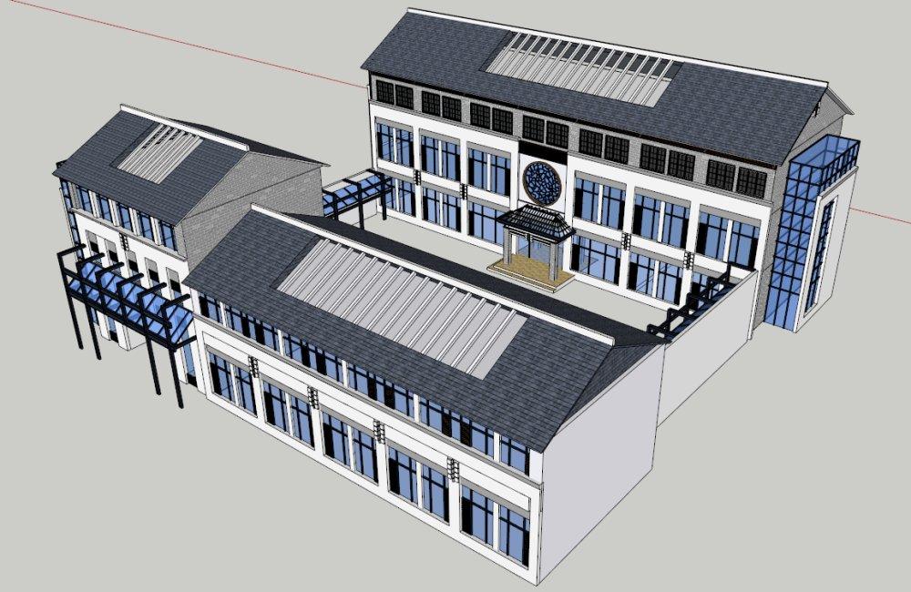 中国式小院,新中式,坡顶,3层
