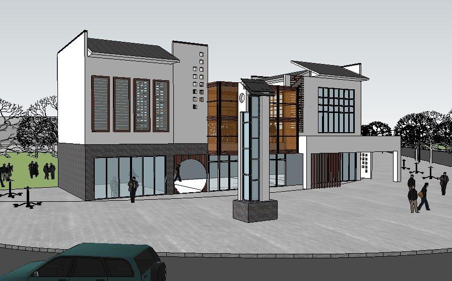 中式会所,现代建筑,两层
