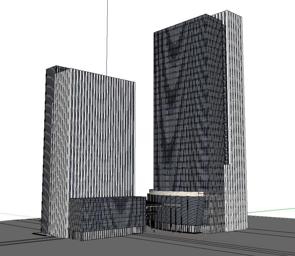 办公双塔楼,现代主义风格,33层