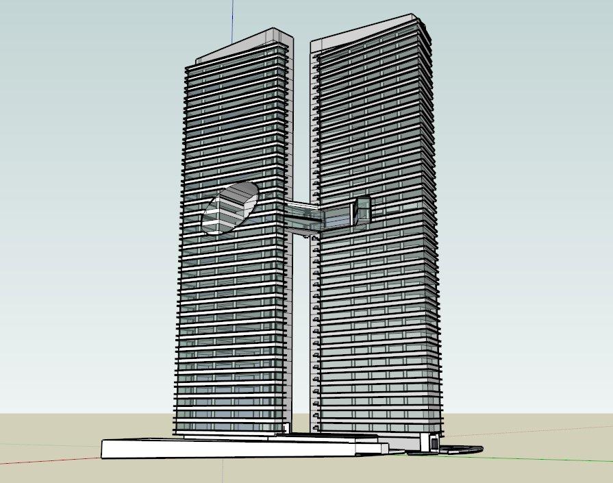 双塔楼,现代主义风格,34层