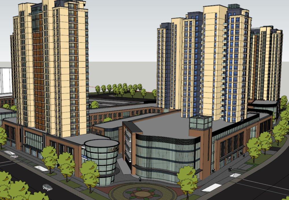 大型带商铺住宅楼,现代建筑,多层图片
