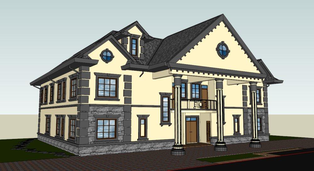 二层别墅,坡屋顶,局部屋顶跃层. - 住宅模型库 - 户型