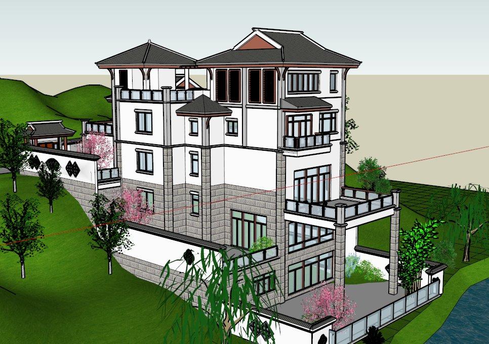 中式别墅建筑,中国新古典,五层图片