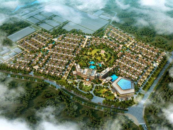 建筑设计   项目由联排与酒店组成,酒店及会议中心通过连廊相连,布置