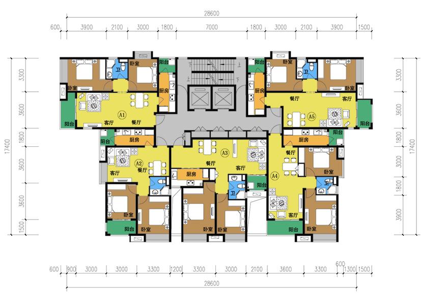 34层一梯五户单元户型 - 优户单元户型