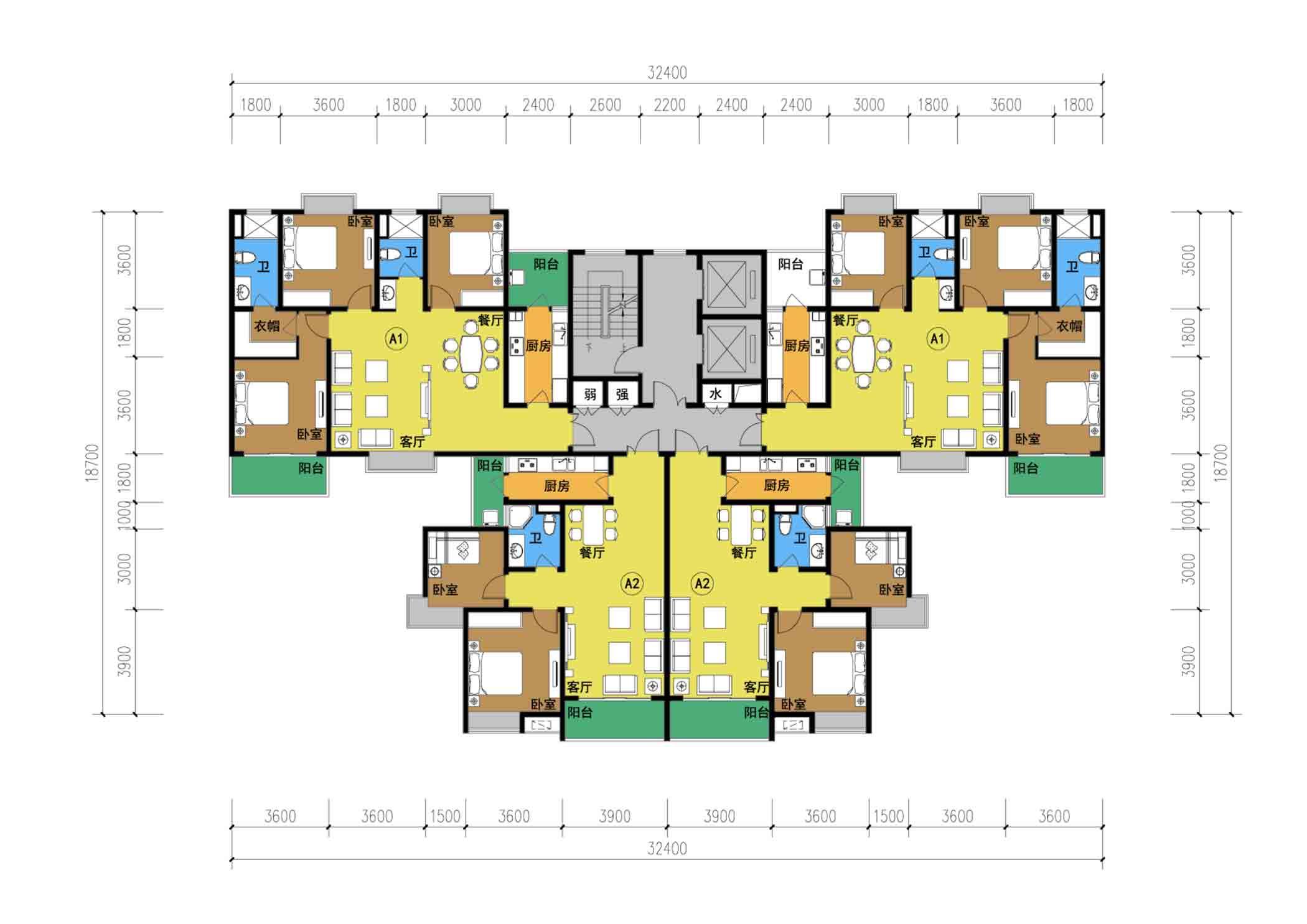 11层一梯三户户型 - 公寓户型图下载-cad下载-梯户