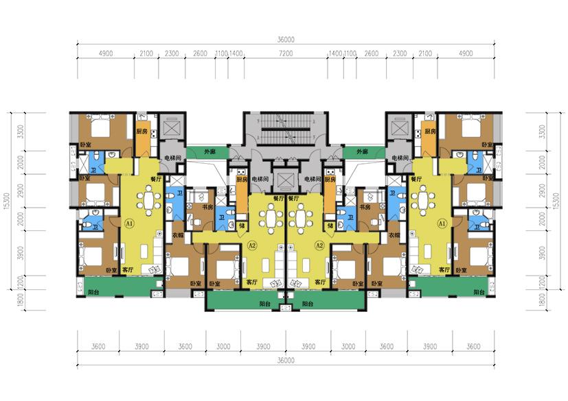 四层叠加别墅单元户型