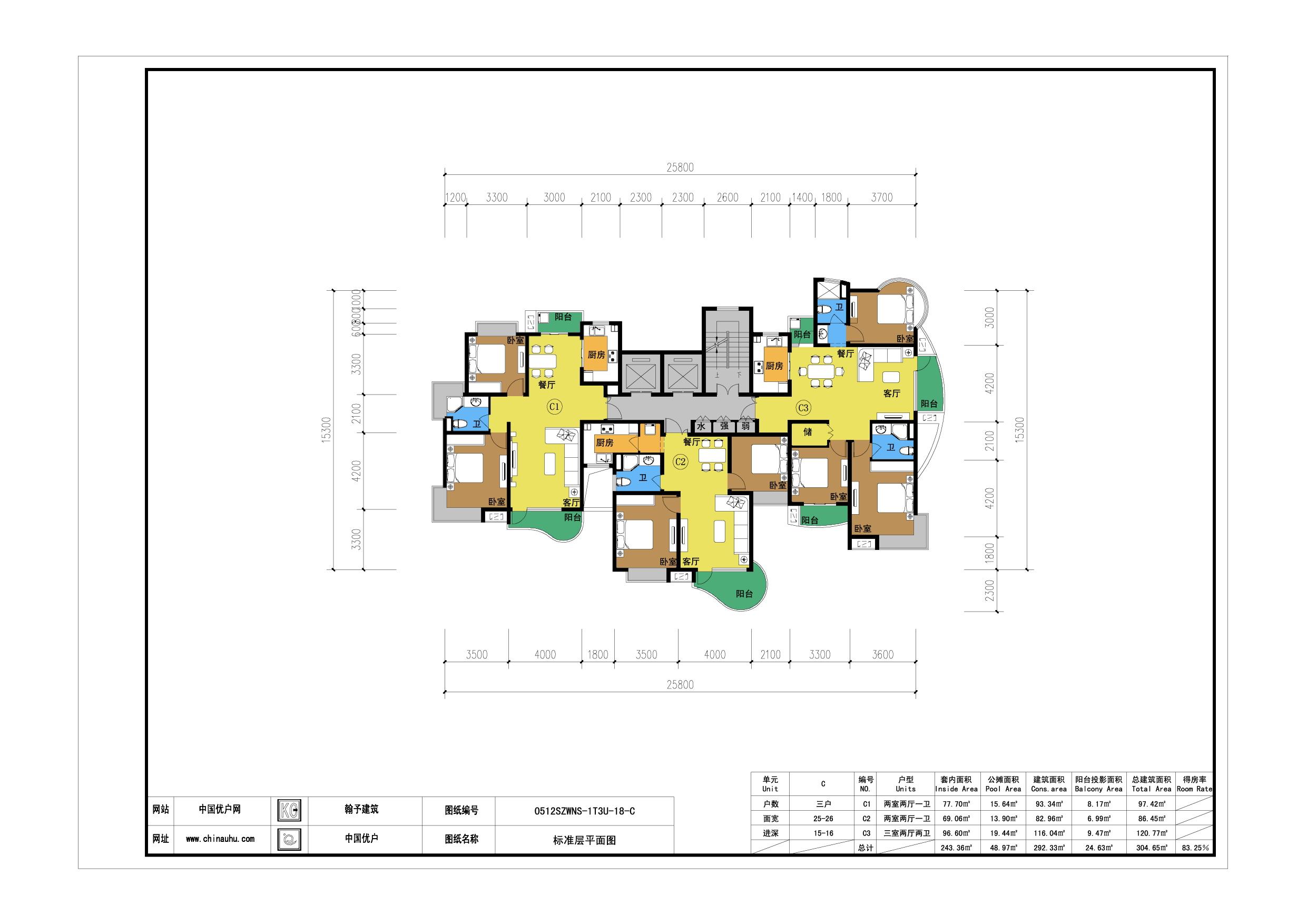 18层一梯三户单元户型-公寓户型图下载-cad下载-1梯3