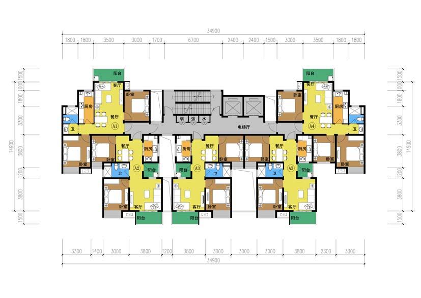 34层二梯五户单元户型 - 优户单元户型