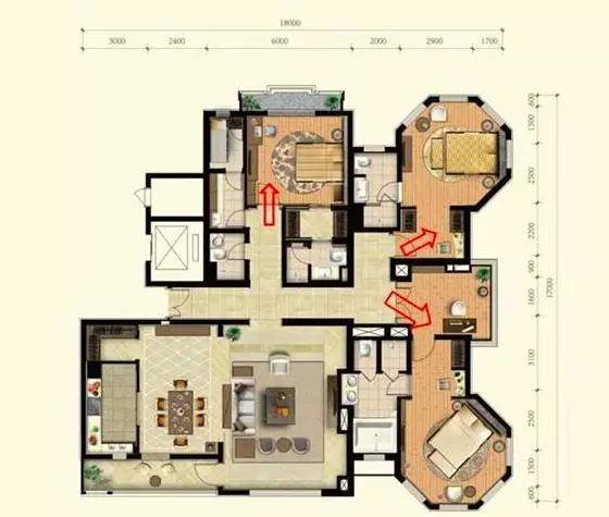 其次是户型内部客厅,餐厅等公共活动空间与卧室等较