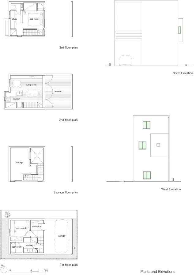 這座位于東京的小房子擁有一個相當具有特色的露臺,從造型上看,房屋一半的體量分給了露臺。建筑師期望通過這個設計證明:私人性質的室外空間對生活品質提高可起到關鍵性作用,同時也能讓業主與參與戶外一系列事件。  因為業主希望在陽光下自由的做瑜伽,所以建筑師在二樓起居室的外側設置了一個充滿陽光和新鮮空氣的大露臺。露臺與起居室直接相連,將落地窗打開,起居室與露臺便完全融為一體。     二樓露臺的下方便是一樓的半開放停車場。雖然住宅位于東京的高密度住宅區,但是該地塊卻擁有絕佳的照明條件和陽光。大矩形的一半成為空兒-
