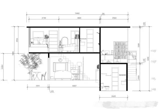 客厅吊顶及剖面图
