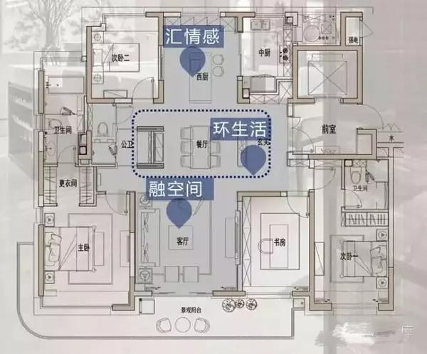 形成一个完整的玄关; 2)主卧的套间设计更加成熟,之前是卫生间和