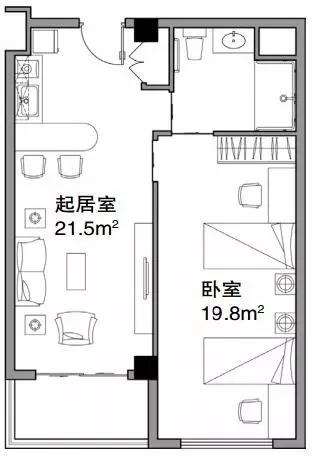 """小起居大卧室""""套间平面图"""