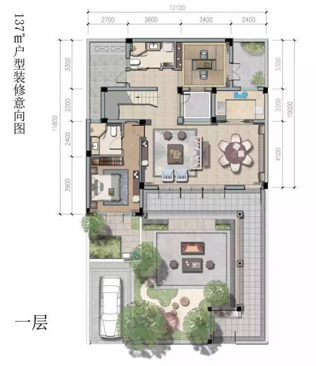 带天井的房子设计平面图