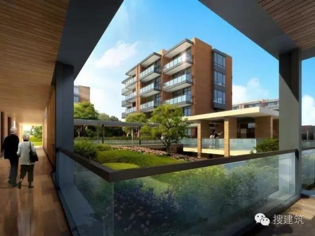 ▲风雨连廊效果图-万科养老住宅,75㎡ 100㎡和110㎡三种户型设计